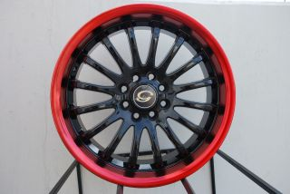 Wheel 5x108 40 Black Red Lip Rim Fits Volvo S40 V40 S60 C70