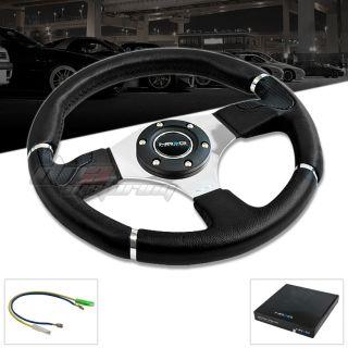 NRG EVO Series 320mm JDM Racing Sprot Real Black Leather Steering