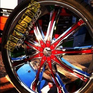 26 inch Wheels Rims Tires Red DW29 5x115 Dodge Nitro 2007 2008 2009
