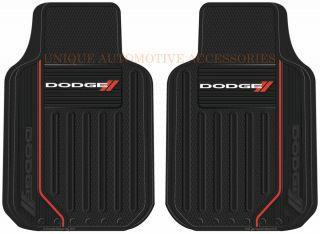 New 2 Piece Dodge Logo Rubber Front Floor Mats Set for Cars Vans