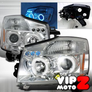 Nissan Titan Armada 2X Halo Rim LED Projector Head Light Lamp