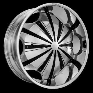 Chrome Wheels Free Black Inserts Rims Tires Pkg 6x139 7 24 26