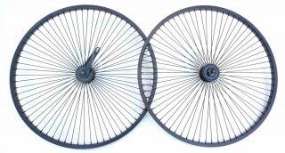 68 Spokes Beach Cruiser Bike Wheel Rim Black Front Rear Coaster