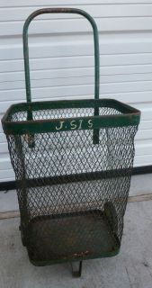 Green and Yellow Trash Can on Wheels Cool Throw Back Item
