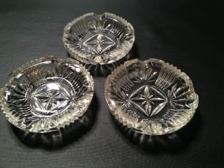 Vintage Glass Ashtrays Set of 3 Cigarette Cigar Pipe Ashtray