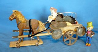 House Dollhouse German Wood Horse Pedlar Cart Iron Wheels Toy
