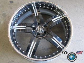 SW5 5x112 22x10 37M Black Machined Chrome Lip Custom Rim