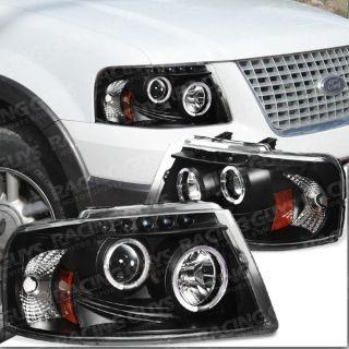 New Halo LED Black Projector Head Lights Lamp Angel Eye