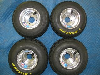 New Dunlop Racing Go Kart Rain Tires Wheels 4 Each