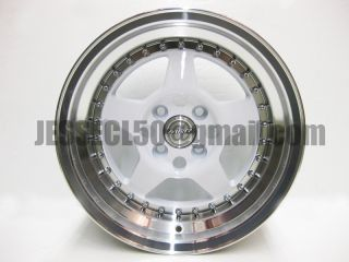 MRR FF5 Wheels 15x8 25 4x100 White w Polished Lip Honda Acura Miata