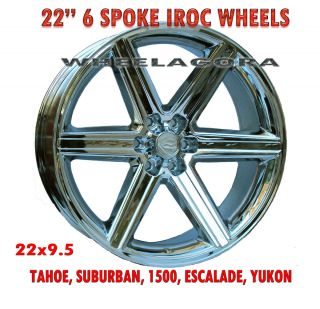22 Rims IROC Chrome Wheels U2 Yukon Escalade Tahoe GMC