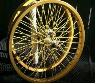 Old school BMX Sumo gold 20 x1 75 wheels w Primo sealed hubs yellow sp