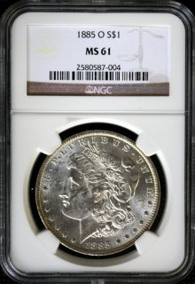 Morgan Silver Dollar MS61 NGC Cert Frosty Luster Gold Toned Rim