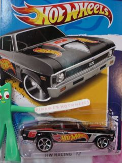 2012 i HW 68 Chevy NOVA SS 1968 #171★New BLACK★Hot Wheels Racing