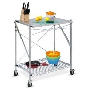 Steel Folding Kitchen Work Utility Cart Table on Wheels Storage