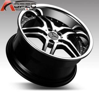 19 Staggered Euromag EM2 Black Wheel Fit Mercedes W204 W215 W216 W212
