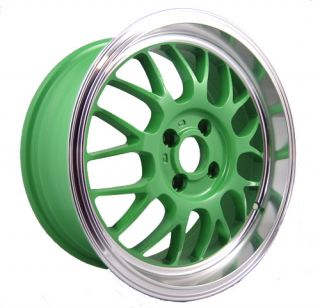 15 Spun Supamesh Green Rims Wheels Civic Integra Yaris