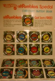 HOT WHEELS RRRUMBLERS REDLINE COLLECTORS BUTTON BOOK SPECIAL PROMOTION