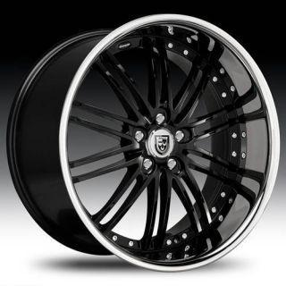 Staggered Wheel Set 20x10 20x8 5 Black Chrome Lip Lexani Rims