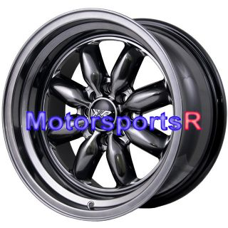 16 16x8 XXR 513 Chromium Black Rims Wheels Deep Dish Step Lip Datsun