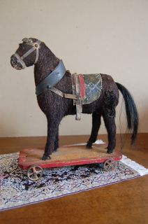 AMERICAN FOLK ART BLACK HORSE PULL TOY REAL HORSE HAIR WITH WHEELS