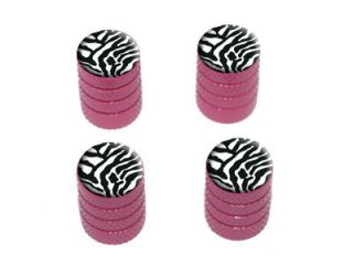 Zebra Print Tire Rim Wheel Valve Stem Caps Pink