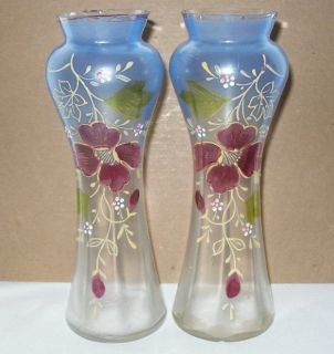 ANTIQUE VASE PAIR 1800s Mirror Image HAND PAINTED Glass VICTORIAN or