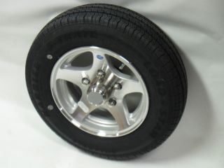 04 14 Aluminum Trailer Wheel Rim ST215 75R14 LRC Goodyear Tire w Acc