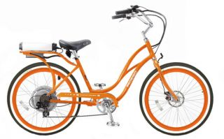 Cruiser Bicycle Bike Orange Frame ORG Rims White Wall Tires