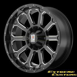 Series XD806 Bomb Black Milled 5 6 8 Lugs Wheels Rims Free Lugs