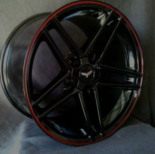 Corvette Wheels 17 18 Black with Red Lip Z06 Style Fits C5 1997 2004