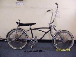 20 Lowrider Bike with 140 Spokes Bent Fork Coaster Brake Black New