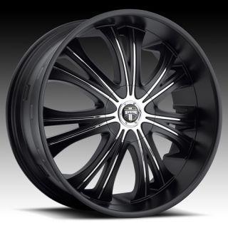 24 Dub Mamba 24x9 5 Wheel Set Matte Black 24 inch Rims