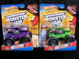 Hot Wheels Monster Jam GREEN and PURPLE Spectraflames GRAVE DIGGER