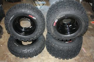 YAMAHA YFZ450 YFZ 450 FRONT + REAR BLACK RIMS WHEELS GMZ TIRES 21X7 10