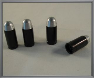 Black & Silver 45 Cal Bullet Custom Valve Stem Caps   Car Truck Rims