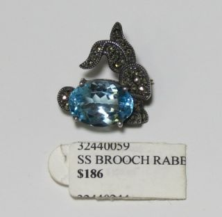 New Judith Jack Sterling Silver Marcasite Stones Blue Crystal Brooch