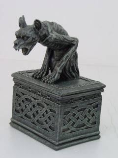 CELTIC GROTESQUE GARGOYLE KEEPSAKE BOX / JEWELRY BOX FIGURINE STATUE