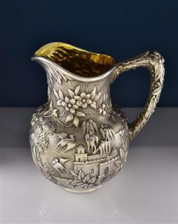 Kirk Son Sterling Repousse Castle Water Pitcher