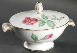 Wentworth Rosita Sugar Bowl & Lid, Fine China Dinnerware   Red Roses, Rim Shape