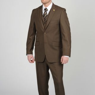 Stacy Adams Mens Brown 2 button Vested Suit