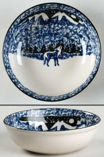 Tienshan Wolf Coupe Cereal Bowl, Fine China Dinnerware   Blue/Black Sponge Wolf&