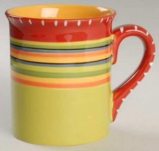 Hot Tamale Mug, Fine China Dinnerware   Red,Orange,Green,Yellow,Stripes,No Trim