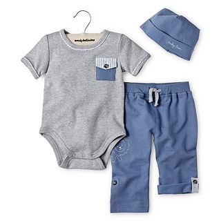 Wendy Bellissimo 3 pc. Pant Set   Boys newborn 9m, Grey, Boys