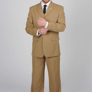 Stacy Adams Mens Taupe 3 button Vested Suit