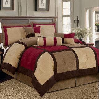 Textiles Plus Inc. Microsuede Patchwork Bed in a Bag 7 Piece Comforter Set CS
