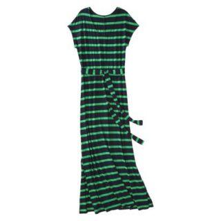 Merona Womens Knit V Neck T Shirt Maxi Dress   Xavier Navy/Mahal Green   XL