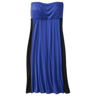 Pure Energy Womens Plus Size Strapless Maxi Dress   Blue/Black 3X