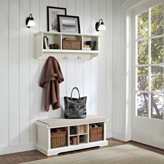 Crosley Brennan Entryway Storage Bench with Storage Shelf   White   CRY474 1