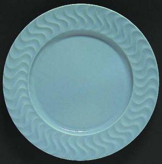 Dansk Tsunami Blue Dinner Plate, Fine China Dinnerware   All Blue, Embossed Wavy